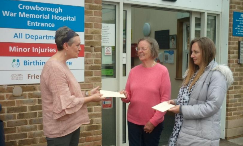 June Lynne Thorpe and Sophie Dulwich-Millar with the President of the Friends of Crowborough Hospital Dr Kate Stokes